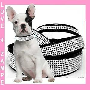 XS pour chien strass halsband fabriqué en Allemagne Noir 5Rangs, Largeur 25mm