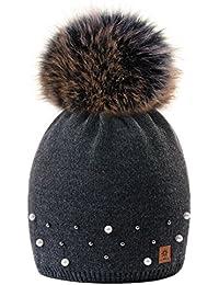 MFAZ Morefaz Ltd Winter Beanie Invernale Berretto Donne Cappello Perla  Finta Pom Pom Fodera in Pile 4a3b645ca4d4