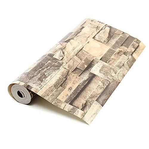 EsportsMJJ 10mx0.53m 3D Realist Retro Stacked Brick Stone Vinyl Background Wall Paper Khaki