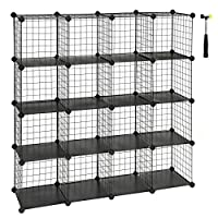 SONGMICS 16 Cube Metal Wire Storage Organiser, DIY Closet Cabinet and Modular Shelving Grids, Wire Mesh Shelves and Rack