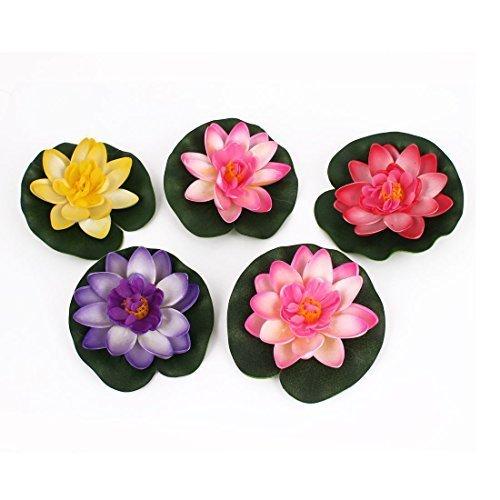 Soccik Künstliche Lotus Seerose Künstliche Pflanzen Künstliche Blumen Schaum Seerose Blume Dekor Schwimmende Teich Pflanzen Gefälschte Lotus 5 Stück