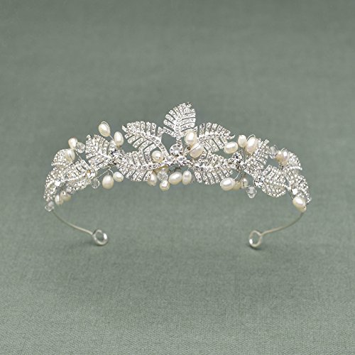 SWEETV Romántico Rhinestone Perla Corona Venda Boda Fiesta Cristal Tiara Diadema Nupcial Tocado