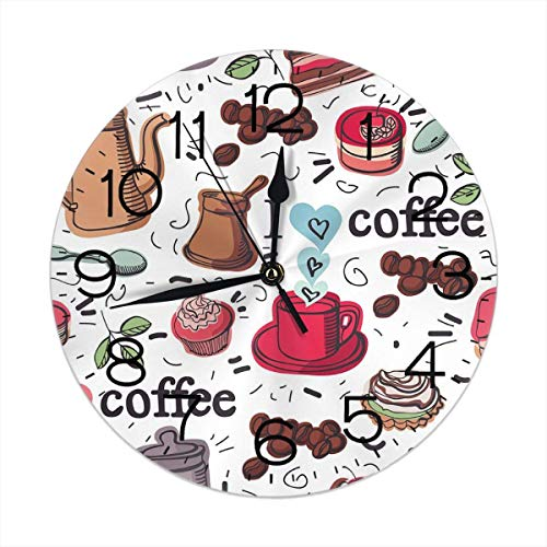 Hectwya Coffee Icon Design Wanduhr 25CM Silent Non Ticking Decorative Round Clocks -
