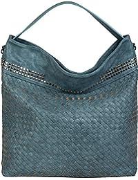 4b650a45ee styleBREAKER borsa hobo borsa a mano con trama intrecciata e borchie, borsa  da shopping,