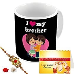 Aart Store I love My Brother Multi Colours Printed Mug, Greeting Card, Rakhi, Roli, Chawal Gift Pack for Brothers/Sisters to Enjoy Raksha Bandhan Festival.
