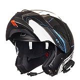 GTYW Motorrad Helm Doppelscheibe Open Face Helm mit Bluetooth Headset Lokomotive Sport Auto Full Face Helm Roller Helm Cruiser Full Face Helm,D-L=57-59CM