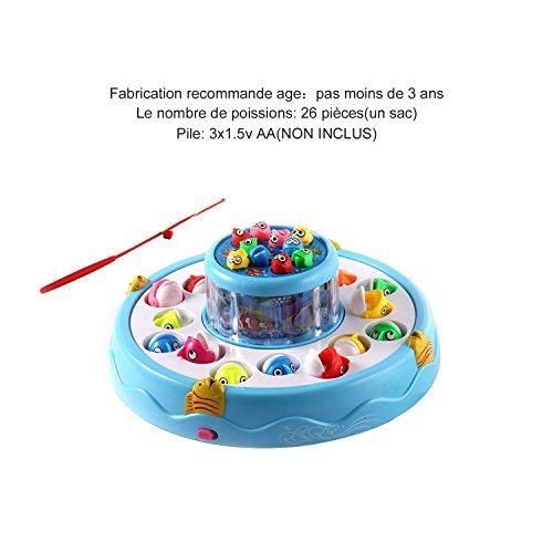 ICOCO Jouet de Pêche, Avec Poisson Magnétique Cannes à Pêche, Plateaux de Jeu Rotatif Electrique Avec de la Lumière Pour l'Interaction Entre Parents et Enfant (Double Plateaux)