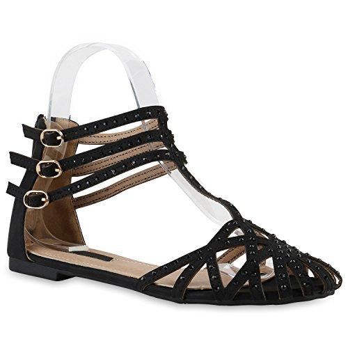 Damen Sandalen T-Strap | Flats Blumen Schnallen | Glitzer Riemchensandalen | Sommerschuhe Schwarz Riemchen Cabanas