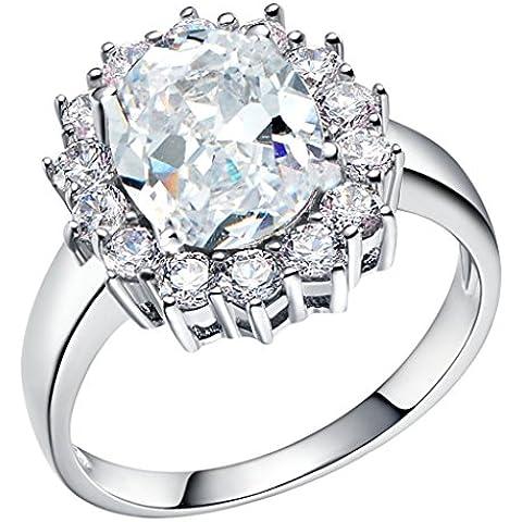 Tailloday 14 mm * 16 mm de plata de Ley de 925 de la joyería de la gran diamante simulado Granate Color rosa rojo piedra Amatista anillo joyería para anillos de la vendimia de la mujer de Color