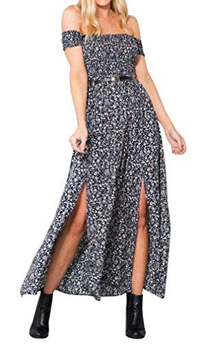 Hikong lange Kleider Damen elegantes Partykleid Maxikleid mit Schlitzen Schulterfrei Blumenmuster Strandkleider - Mit Schlitzen T-shirt-kleid