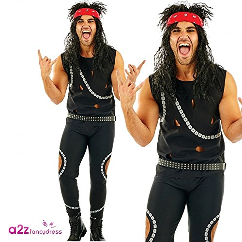 80s Metal Band Costume for Men with trousers, vest, belt and headband. Sizes M, L or XL.