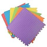 Assemblemat® '' Soft EVA Foam Floor Protection '' Tapis multicolores de 12 mm emboîtables pour l'exercice Salle de jeu avec bordures pour gymnase de yoga 6 pièces = 24 pieds carrés