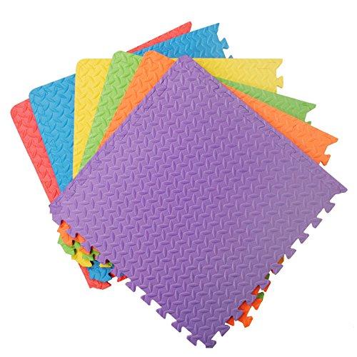 Tappeto per esercitazioni palestra garage baby room, 12mm eva, 6 piastrelle, 24 piedi quadrati multicolore