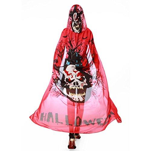 Damen Bluse,feiXIANG Damen Halloween Neuheit Kürbis Drucken Chiffon Cape Schal (Rot)