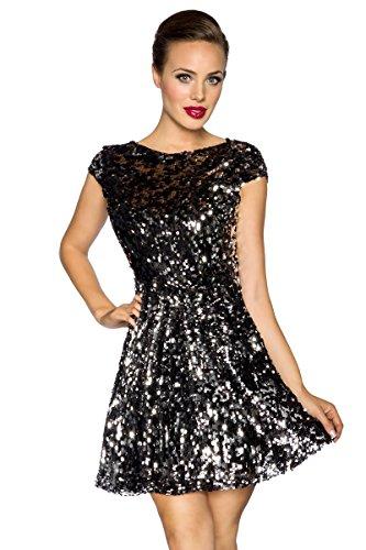 Pailletten Silber Mini Kleid (Edles Mini-Kleid mit Pailletten schwarz/silber Partykleid Abendkleid Cocktailkleid Clubwear,)