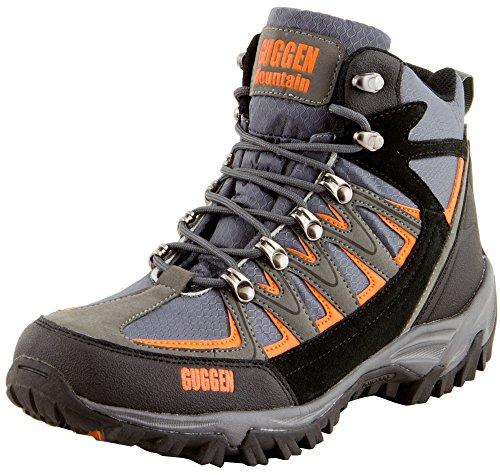 GUGGEN Mountain Bergschuhe Bergstiefel Wanderschuhe Wanderstiefel Mountain Boots Trekkingschuhe mit Echtem Leder, Farbe Grau-Orange, EU 45