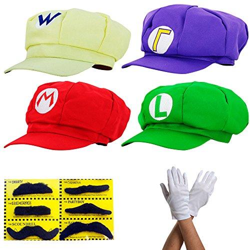 Super-Mario-Chapeau-en-4-couleurs-diffrentes-pour-les-adultes-et-les-enfants-avec-la-barbe-et-les-gants-dans-le-jeu-Carnaval-Costume-Costume-Hat-casquette-casquettes