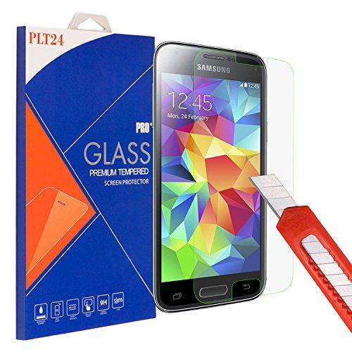 PLT24 Panzerglas Schutzfolie 9H Hartglas / für Samsung Galaxy S5 mini SM-G800F / Displayschutzglas / Tempered Glass / Panzer Glas Display Schutz Folie / Schutzglas / Echte Glas / Verbundenglas ( Glasfolie für Samsung S5 mini )