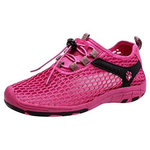 CUTUDE Fashion Damen Sneakers Walking Jogging Laufen Basketball Freizeitschuhe Atmungsaktive Schnürschuhe Laufschuhe (Hot Pink, 36 EU)