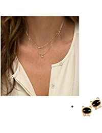 Malloom®nuevo joyas mujeres diamante de imitación oro Múltiples capas de cadena pendiente collar llamativo