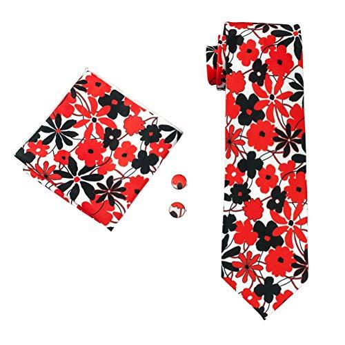 KYDCB Rot Schwarz Floral Männer Krawatten Set 150Cm * 8,5Cm Krawatte Navy Blume gedruckt Seide Jacquard gewebt Krawatte Anzug Hochzeit -