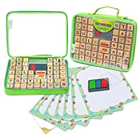 Alphabet Rubber Stamps - 67 Pcs. Set of ABC, Numbers, Emojis w/ 3 Color Ink Pad and Carrying Case. Non-Toxic, Washable Crafts for Children, Teachers and Parents. Fun Travel Toy for Kids. Amazing Gift!