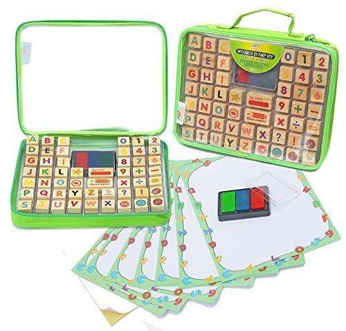 Art with smile Alphabet Stempel-Set beinhaltet 67 Teile mit Einem Organizer Koffer, Bildungsspielzeug für Kinder - Fördert Kunst & Handwerksfähigkeiten am Besten für Kinder, Lehrer & Eltern Geeignet (Kinder Kunst-set Für)