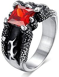 UM Joyería Vendimia gótico Acero inoxidable rojo Cristal Dragón Garra Hombres anillos