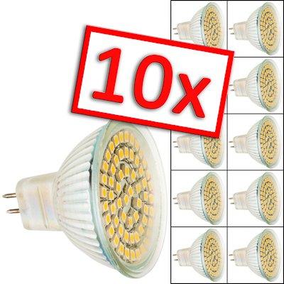 10er Pack MR16 60 LED [sebson®] (280lm - Warm-Weiß - 60 x 3528 SMD LED - 120º Abstrahlwinkel - MR16 Sockel - 12V DC - 3,5W - Ø50×49mm - 10 Stk.) von sebson-media - Lampenhans.de