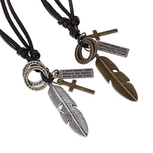 Injoy Jewelry Vintage Angel Feather Pendant Leather Cord Necklace Adjustable Leather Pendant Necklace