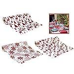 Vetrineinrete® Runner da tavolo natalizio bianco e rosso con glitter 2,7 metri x 28 cm brillantinato decorazioni natalizie per la tavola di natale E16