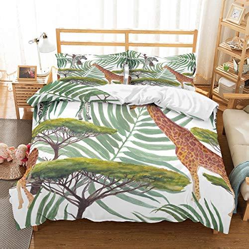 MOUMOUHOME 3 Stück Mikrofaser Pflanzen Bettbezug Set für Kinder Jungen Mädchen Teens,3D gedruckt Weiß/Gloden Giraffe by Plants Bettwäsche Set Grün,Keine Bettdecke -