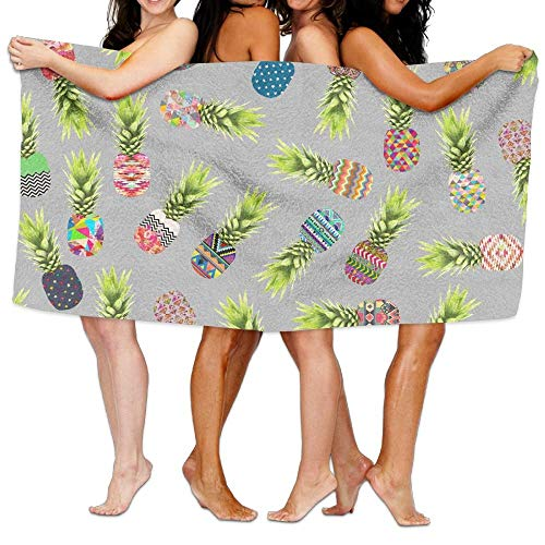 fjfjfdjk Pineapple Party On Light Grey Wallpaper Print Sports Pool Towel -