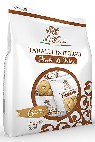 Fiore di Puglia Taralli Integrali-Ricchi di fibre-con olio extra vergine di oliva-formato multipack 6 monoporzioni da 35 gr.