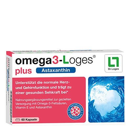 omega3-Loges® plus 2-Monatspackung - Omega-3-Fettsäuren in Premium-Qualität - Hochdosierte Kombination aus Fischölkonzentrat mit natürlichem Astaxanthin - Hoher Anteil an DHA und EPA - 60 Kapseln