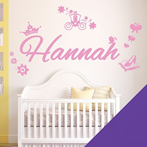 Personalised Name Girls Wall Art Sticker - Princess Cinderella Story - [ Just message us with the name! ] by Wall Designer