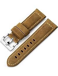 iStrap 22 mm 24 mm 26 mm Banda de Reloj Vintage Piel de Correa Acolchada Correa Panerai reemplazo Pulsera