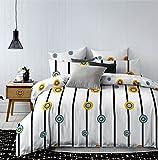 DecoKing 83161 Bettwäsche 135x200 cm mit 1 Kissenbezug 80x80 weiß schwarz blau gelb Bettbezüge Microfaser Bettwäschegarnituren Geometrisches Muster Black White Blue Yellow Hypnosis Twisted