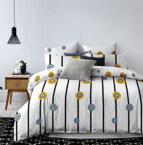 135x200 Bettwäsche mit 1 Kissenbezug 80x80 geometrisches Muster Bettbezüge Microfaser Bettwäschegarnituren Hypnosis Twisted weiß schwarz blau gelb (Blau Und Gelb Bettbezug)