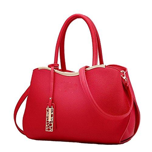 Damen Handtasche Umhängetasche Messenger Bag Mode Mehr Wilde Rucksack Nieten Red