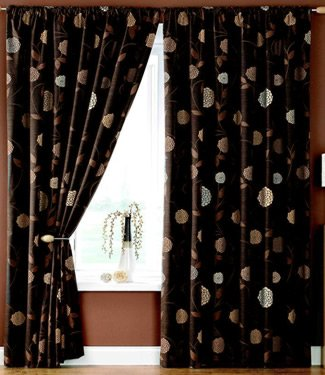 Dreams 'N' Drapes Rosemont Floral Print Pencil Pleat Lined Curtains, Chocolate, 90 x 108 Inch
