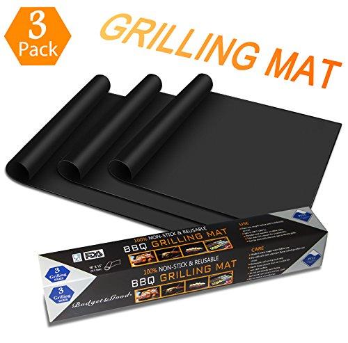 Grillmatte (3er set) Budget&Good Grillen und Backen gasgrill holzkohle BBQ Anti-haftend hitzebeständig 300°C Wiederverwendbar (33x40cm) FDA LFGB SGS zugelassen