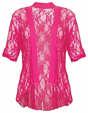 Ladies Short Turn Up Sleeve Floral Lace Waterfall Open Cardigan Top Plus Size 14-28
