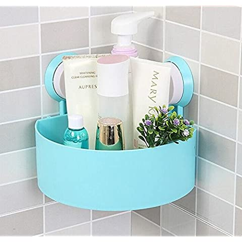Rainbow Love fuerte Sucker trípode Triángulo Baño Estante de almacenamiento estantería esquinera con 4estantes para baño Cocina, plástico, azul,