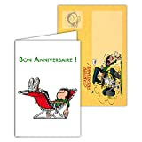 Gaston Lagaffe glct-6067Geburtstagskarte für alle Alters mit Zeichnung Vintage Original mit Motiv Babywippe Cool Relax Zen