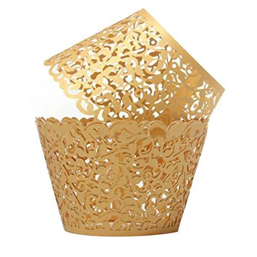 display0812Hochzeit Party filigranen Vine Decor Wrapper-Packungen Cupcake Fällen, Papier, gold, 1.97''