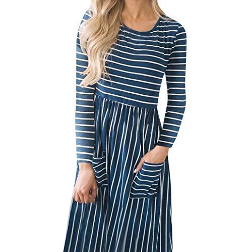 Damen Kleid, Malloom Frauen beiläufiger Streifen Druck Rundhalsausschnitt Langes Hülsen Abend Partei Kleid Verlieren Knielanges solide lässig Ebene Schlinge Kleider (Polyester-schlinge)