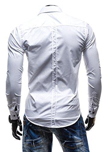 BOLF Langarm Herrenhemd Figurbetont Freizeit Slim Fit Freizethemd 2B2 Motiv Weiß