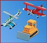 Kaleas Laubsägevorlage 3 Modelle Hubschrauber/Raupe/Doppeldecker