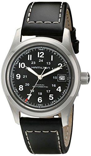 hamilton orologio analogico automatico uomo con cinturino in pelle h70455733